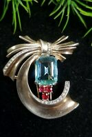 Vintage TRIFARI/Alfred PHILIPPE Sterling Sign Fur Clip Unfoiled Aquamarine Ruby