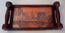 Plateau de service en bois Strasbourg Alsace signé Meal Vintage Wood French tray