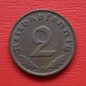 2 Reichspfennig 1936 D XF / St / Third Reich / German Reich / Km# 90 J#362