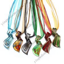 FREE Wholesale Lot 6pcs Flower Helix Lampwork Glass Pendants Silk Necklace
