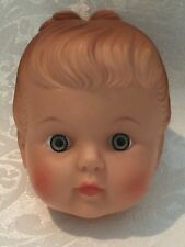 "Vintage Doll Head Plastic 1950's Molded Hair Bun / Ponytail Baby Girl 3"""