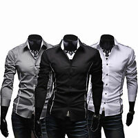 Mens Slim Fit Long Sleeve Cotton Shirt Casual Party Business Formal Dress Shirt