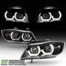 Black 2006-2008 BMW E90 3-Series 4-Door LED Halo Projector Headlights Headlamps