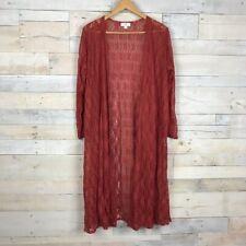 Lularoe Sarah Orange Long Lace Open Duster Cardigan Sweater Large