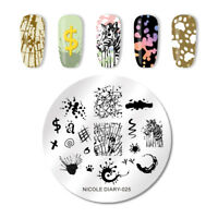 NICOLE DIARY Nail Stamping Plates Round DIY Design Nail Stamp Image Plate ND-025