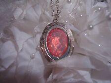WEDDING pink opal DRAGON BREATH LOCKET Necklace PendanT ANNIVERSARY BIRTHDAY