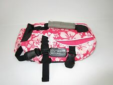 Outward Hound Dog Life Jacket Size Small Pink Floral Handle Leash Ring Ex Cond