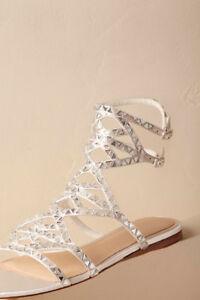 Vince Camuto Wedding Flats Imagine Claretta Bridal Gladiator Crystal Sandals 7