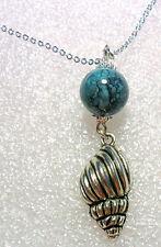 "Tibetan silver style shell + bead pendant, 17.5"" chain"