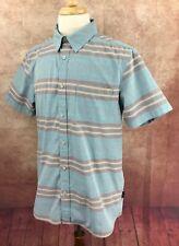 North Face Button Front Short Sleeve Cotton Poly Blue Stripe Shirt Men's L