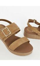 Ex Evans EXTRA WIDE FIT(EEE) Brown Buckle Strap Flatform Sandals
