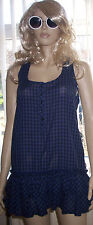 F+F Blue Checked Sleeveless  Layered Cotton Summer Party Dress Size 12