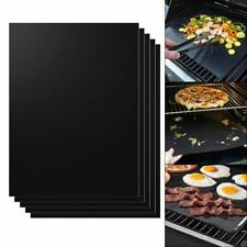 5PCS Reusable Non-stick Black BBQ Grill Mat Barbecue Baking Liner Cooking Sheet