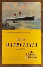 RMS MAURETANIA Cunard White Star original poster 1939