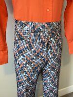 Vtg 60s 70s Mens 34 32 SANSABELT Pants Polyester Disco Leisure Suit Hippie Flare