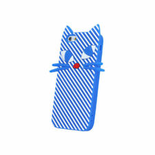 ^ Huawei Y6 2 Compact  BACK CASE 3D Silikon Hülle Schutzhülle Cover Katze Blau