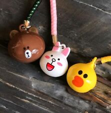 X3 Brown Bear Sally Chick Cony Rabbit Heads Bells Keychains Key Chain Ring Set