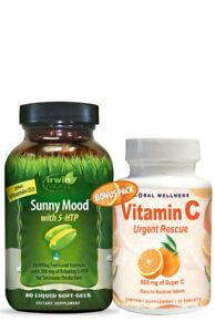 Irwin Naturals Sunny Mood with D3 & 5-HTP + Vitamin C Urgent Rescue Bonus Pack