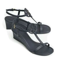 TORY BURCH MILLER WEDGE 60 MM SANDALS BLACK, SIZE 8.5