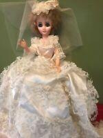 "Vintage Wedding Bride Doll 16"" blonde hair blue eyes"