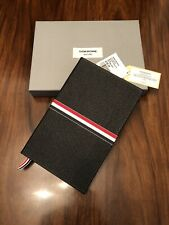 THOM BROWNE Large Notebook With Red,White and Blue Grosgrain in Black Pebble