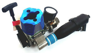 02060 1/10 Scale Buggy .18 VX RC Glow Nitro Engine Rotary Carb Side Exhaust Blue