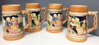 BOUTIQUE MADE IN JAPAN Lot Of 4 Vintage Hand Painted Beer Stein Mugs 2 Styles SR