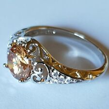 Champagne Morganite. 925 Sterling Silver Ring.  Size 10 / 62 mm.  AUSTRALIA