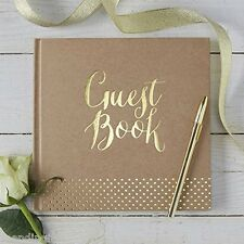 Ginger Ray Kraft Perfection Gold Foiled Guest Book Rustic Vintage Theme Wedding