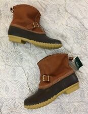 Women's LL BEAN Boots Lounger Buckle Tumbled Leather Shearling Duck Boot 11 NEW