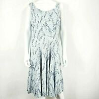 Per Una UK 16 Grey Navy Blue Floral Dress Strappy Fit & Flare