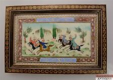 Persian Hand-Painted Suratgari Bone Marquetry Khatam Frame Watercolor Polo Horse