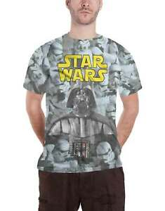 Star Wars T Shirt Darth Vader Stormtroopers Official Mens White Slim Fit Sub Dye