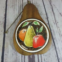 Trivet Cheese Tray Figural Pear Fred Press Sere Wood Fruit Vintage Mid-century