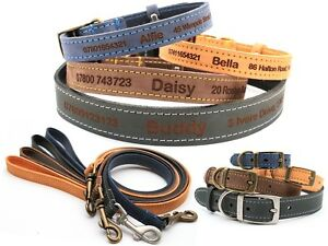 Personalized Custom Leather Dog Puppy Collar + Lead   Design Your Unique Pet ID