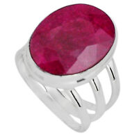 10.36cts Natural Red Ruby 925 Sterling Silver Solitaire Ring Size 6.5 P89592