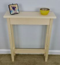 """24"""" Narrow Unfinished Pine Console, Sofa, Hall, Wall Table With Shelf"""