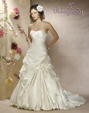 Symphony Bridal wedding dress formal lace up back A line Size 14 Satin Ivory