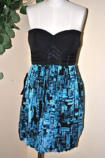 NWT BEBE Corset Bubble Dress SZ M Coctail Christmas Party Turquoise Black Silk
