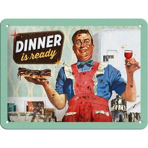 Gourmet Cuisine Vintage Plaque en Tôle Publicité Cuisine Cuisiner 15x20cm