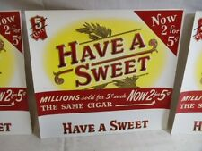 Vintage Embossed NEW Cigar Box Label LOT of 20 Have a Sweet 2 for 5 cents NOS