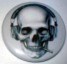 Smoking Skull  25mm Pin Badge Punk/Goth/Metal SHPSK1