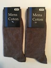 New 12 Pairs Mens Dress Socks Fashion Casual Solid Brown Cotton Size 10-13