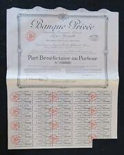 Action 1924 BANQUE PRIVEE LYON MARSEILLE  titre bond share 3