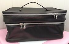 New ~ Lancome ~ Metallic Dark Gray Train Case ~ Nice ~ SOFT Case ~ 2 Layers