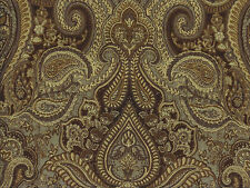 Designer Drapery Fabric 6K Dbl Rubs Traditional Jacquard Paisley - Sage / Brown