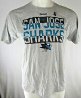 San Jose Sharks Reebok Men's Short Sleeve Gray T-Shirt NHL Size Small