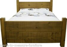 """REAL SOLID WOOD CHUNKY RUSTIC PLANK PINE 60"""" KING SIZE BED & slats for mattress"""