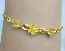 24K Solid Yellow Gold Flowers Cute Bracelet. 7 Inches, 8.65 Grams