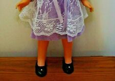Vintage Velvet Doll Shoes, Black w/Bow, NO DOLL